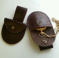 Fob watch Brown real leather pouch with belt loop to hang down from belt.