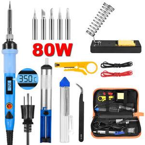 Soldering Iron Kit 80W Adjustable Temp Welding Tool Desoldering Pump Irons Stand