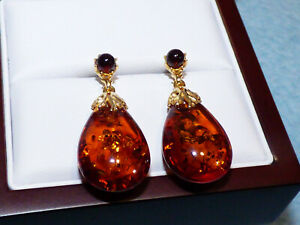 Large Cognac Amber Earrings  - Brand New