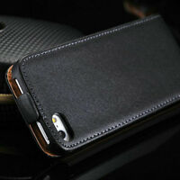 Premium Black Genuine Leather Wallet Flip Case Cover for iPhone 6 and iPhone 6s