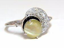1.85ct natural cabochon chrysoberyl cats eye diamonds ring 14kt Vintage Crescent