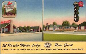 Linen Postcard El Rancho Motor Lodge and Rose Court Rock Springs, Wyoming~136467