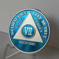 Blue Silver Plated 7 Year AA Chip Alcoholics Anonymous Medallion Coin