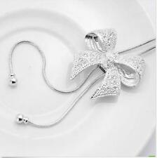 Women White Gold Plated Crystal Bowknot Pendant Necklace Sweater Chain Jewelry