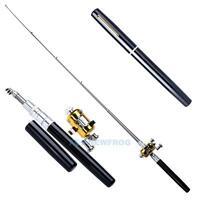 Mini Angelrute Telerute Kugelschreiber Angelruten Teleskoprute Angelset Aluminum