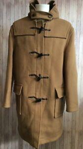 NEW Men's GLOVERALL Classic Wool Harris Tweed Tan Duffle Coat Size 42 RI