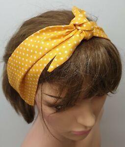 Women headband retro yellow polka head scarf rockabilly 50's bandanna hair scarf