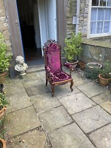 Victorian mahogany armchair with barley twist columns and fine carving