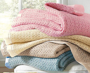 Natural Pure Washed Wool Cellular Blankets Bed Throw Single, Double, King Size