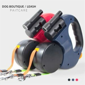 Retractable Dual Double Pet Leash Rope Walk WIth Two Dog No Tangle Adjustable