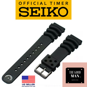 Genuine Seiko Z22 Watch Band Diver SKX171SKX173 18-22mm Black Rubber Curved Vent