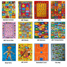 Educational Kids Rug Children for School Classroom Bedroom Non Skid Gel Backing