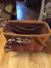 Longaberger 25th Ann. 1998 Collector's Club Flag Basket Plastic & Cloth Liners