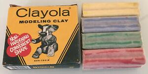 Vtg NOS CRAYOLA Modeling CLAY original box new Binney & Smith green red yllw blu