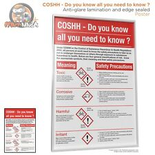 COSHH All You Need to Know Poster A2 A3 A4 (anti-glare lamination & edge sealed)