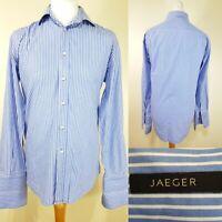 Jaeger Men's Blue White Stripe Long Sleeve Shirt Size L Work Career Cufflinks