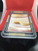 Grand Gourmet - 3-Piece Non-Stick Kitchen Baking Pan Set - Cookie Sheet Pan