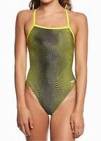 Speedo Women's Swimwear Black Yellow Size 30 One-Piece Abstract Print $74- #925