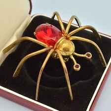 Early Vintage Spider Brooch 1930s Large Red Crystal Goldtone Bridal Jewellery