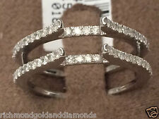 Pave Vintage Cathedral Ring Diamonds Guard Solitaire Enhancer 14k White Gold 0.5