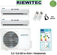RIEWITEC Dual MultiSplit mit1x2,6 und 1x5,2 kW Klimaanlage 5,3 / 5,6 kW mit R32