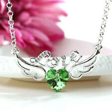 Elegant Women'S Jewelry Crystal Green Angel Wings Charm Silver Pendant Necklace