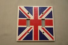 UNION JACK BRITISH FLAG SWITCH PLATE-Inc 4 Red Top Screws- About 4 1/2 x 4 1/2""