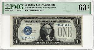 1928 A $1 SILVER CERTIFICATE NOTE FR.1601 YA BLOCK PMG CHOICE UNC 63 EPQ (420A)