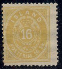 ICELAND #4 16sk yellow, p. 14 x 13½, unused no gum, Scott $1,450.00