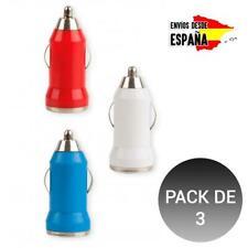 Pack 3 Cargador universal USB para Coche con Toma de Mechero Adaptador viaje