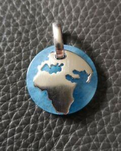 Pierre Lang Anhänger Welt rhodiniert matt, blau