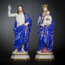 "RARE 14"" Antique Pair of Madonna with Child and Jesus Vieux Old Paris Statues _"