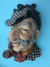 Chalkware Figural Head of Man in Deerstalker Hat w/ Pipe - Unmarked