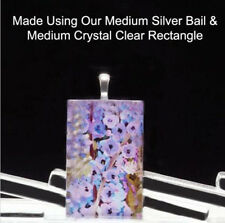 """20 QTY - MEDIUM Rectangle 1"""" x 1 1/2"""" CRYSTAL CLEAR Glass Pendant Magnet Tile"""