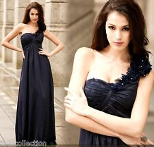 One Shoulder Cocktail Formal Evening Party Maxi Long Dark Navy Blue Dress 118573
