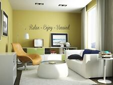 RELAX ~ ENJOY ~ UNWIND Wall Art Decal Lettering Words Sticker Home Decor 24""