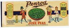 Penrod Brand june peas, dog, sword, vintage can label, littlestown cannin co PA