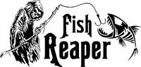 Grim Reaper Skeleton Fish Fishing Rod Car Boat Truck Window Vinyl Decal Sticker