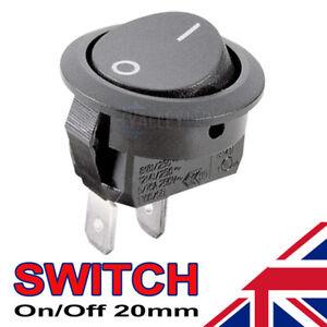 1 x On/Off Black Round Rocker Switch Car Automotive 20mm SPST Boat Dash