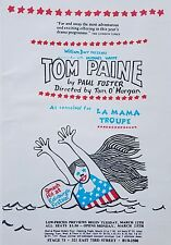 Rare Original 1960's Theater Poster TOM PAINE as Conceived by La Mama Troupe
