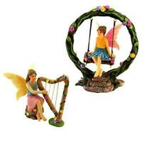 PRETMANNS Fairy Garden Fairies – 2 Miniature Fairy Figurines & Swing Set –