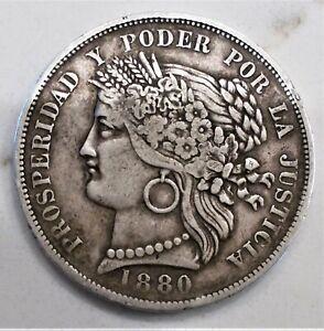 1880 B 5 CINCO PESETAS PERU! VF++ CONDITION!