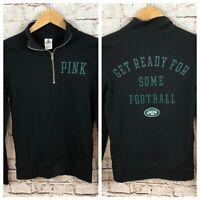 Victorias Secret PINK XS womens 1/4 zip New York Jets sweatshirt shirt L3