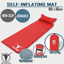 Air Bed Self Inflating Mattress Sleeping Mat Camp Camping Hiking Joinable Red