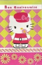 "HELLO KITTY carte "" bon anniversaire"" casquette rose"