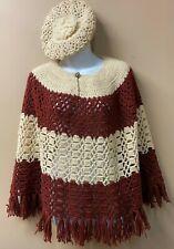 Vintage Crochet Poncho Fringe W/ Beanie Barrett Crimson Red & Eggshell/Off-White
