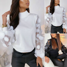 Womens T-shirts Sheer Mesh Puff Long Sleeve High Neck Blouse Pullover Slim Tops