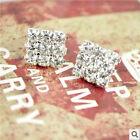 Fashion Women Clear Crystal Rhinestone Diamante Square Earrings Silver Tone Stud