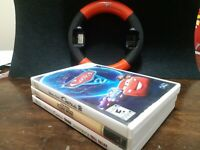 Nintendo Wii Bundle/Lot 3 Games Cars Star Wars + Cars Steering Wheel EUC
