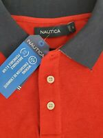 Nautica Mens Classic Fit Short Sleeve Performance Red Polo Shirt Size Large NEW